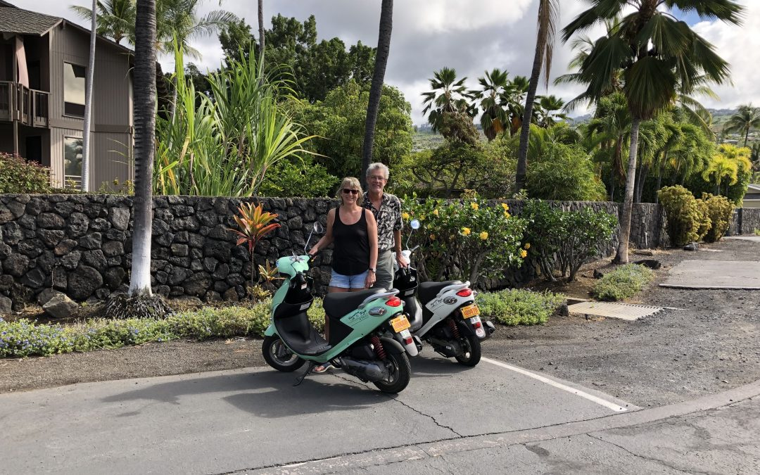 Touring Hawaii's Big Island Kona Coast beaches by scooter